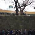 武道館に並ぶ人々、花知らず。